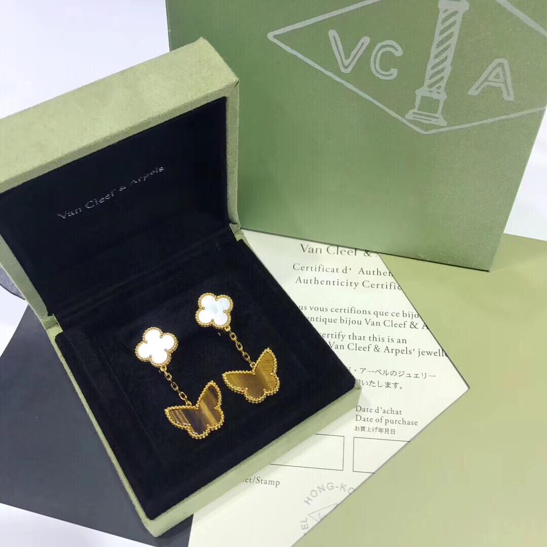 Replica van cleef & arpels Lucky Alhambra earrings 2 motifs