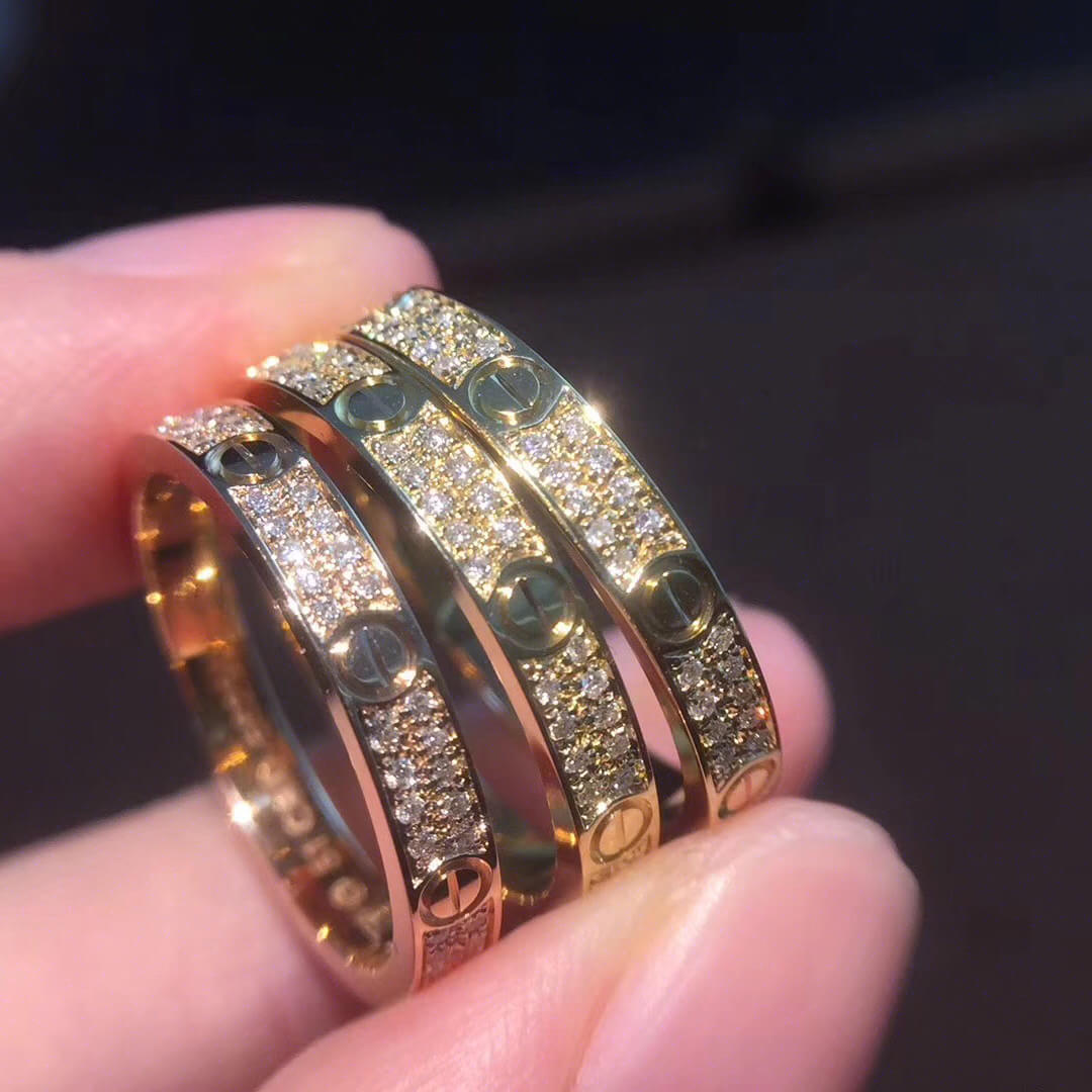 Replica Cartier love ring SM with full diamonds